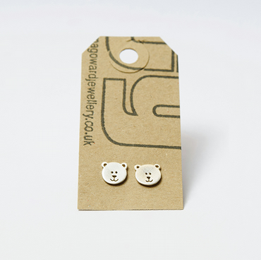 """A Walk In The Woods"" - Teddy Bear Stud Earrings"