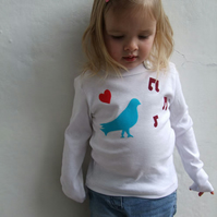 Turquoise Birdy Long Sleeve Childrens/KidsTshirt