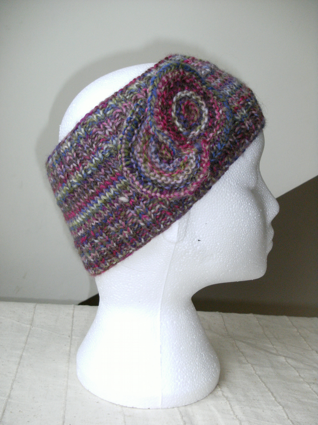 Multi coloured knitted headband in Muted Pastels