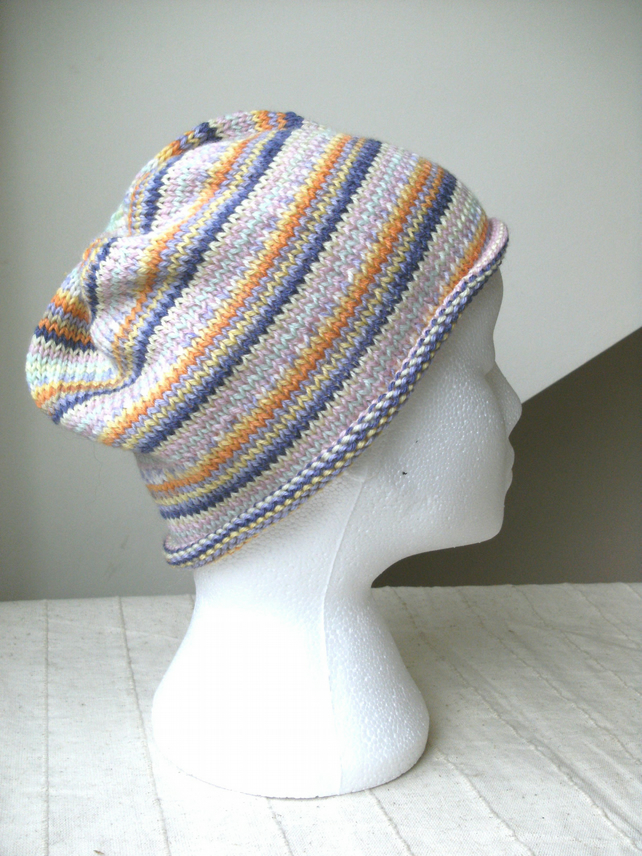 MARCH SALE! Handknit Beanie Hat 100% MERINO Stripey jacquard in Pastels