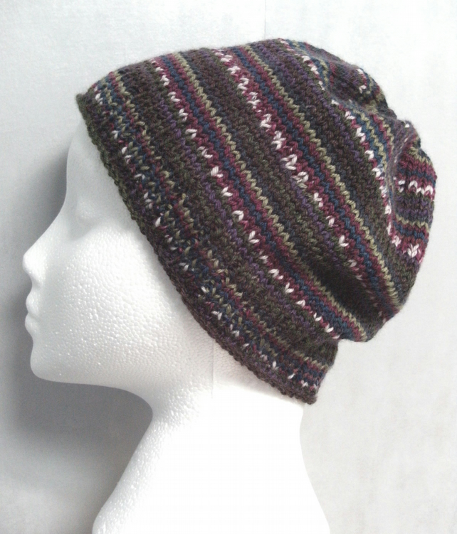 Handknit Beanie Hat 100% MERINO Stripey jacquard in Autumn Berries