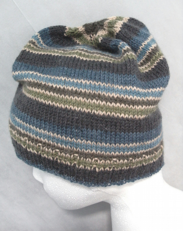 Handknit MENS SLOUCH BEANIE Stripey Blue 2 MEDIUM