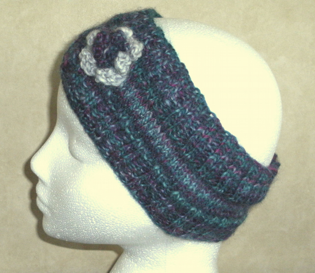 Flowered headband in jade greens and pink