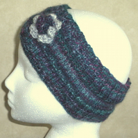 Flowered headband in jade greens and pink 100% Wool