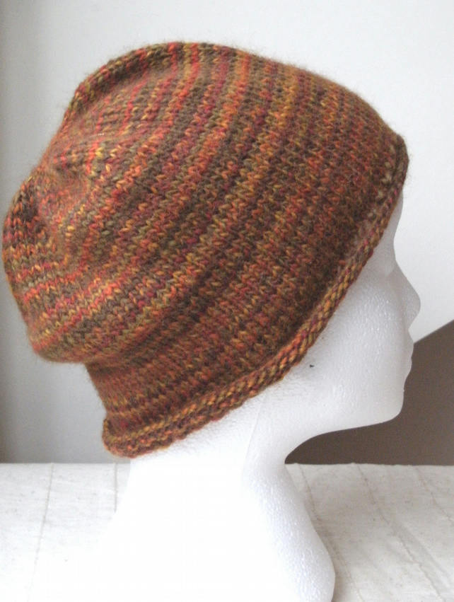 Handknit Roll up Beanie Hat  100% WOOL Bonfire Night