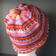 Handknit KNOTTY TOP BEANIE Stripey jacquard in Pinks & Reds child teen adult sma