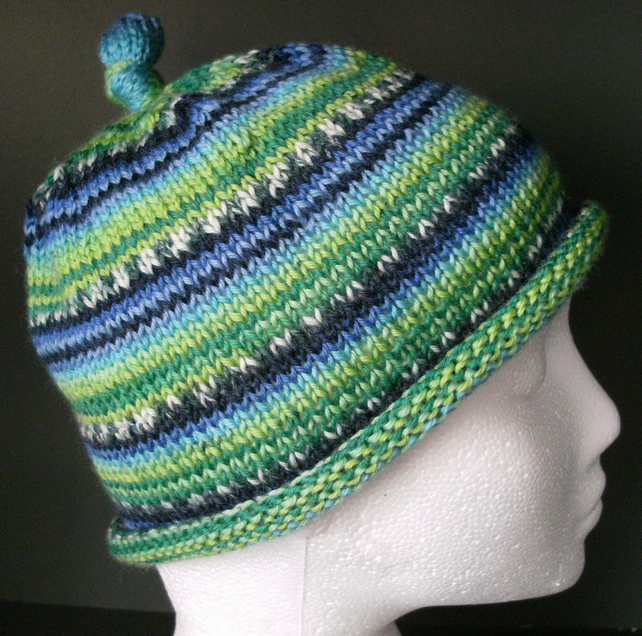 SPECIAL! Handknit CHILDRENS 6-10KNOTTY TOP BEANIE Stripey  in Blues & Greens