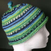 Handknit KNOTTY TOP BEANIE Stripey in Blues & Greens child teen adult small