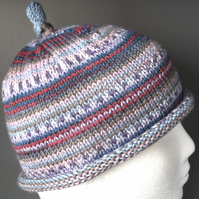 Handknit CHILDRENS 6-10 KNOTTY TOP BEANIE Stripey jacquard multi