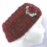 Hand knitted Flowered headband in dark reds