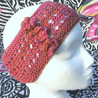 Hand-dyed & Knit Cotton Lacy Headband with flowers Coral Pinks