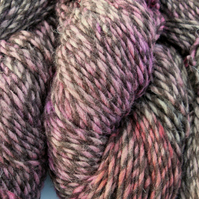 Hand-dyed 100% WOOL CHUNKY magenta & red on brown marl