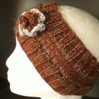 Flowered Headband in terracotta browns 100% Wool