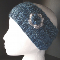 Flowered headband in blues