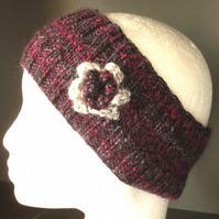 Flowered headband in purple & dark pink 100% Wool