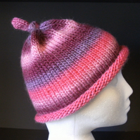 MARCH SALE! Handknit GIRLS KNOTTY TOP BEANIE Stripey Pinks