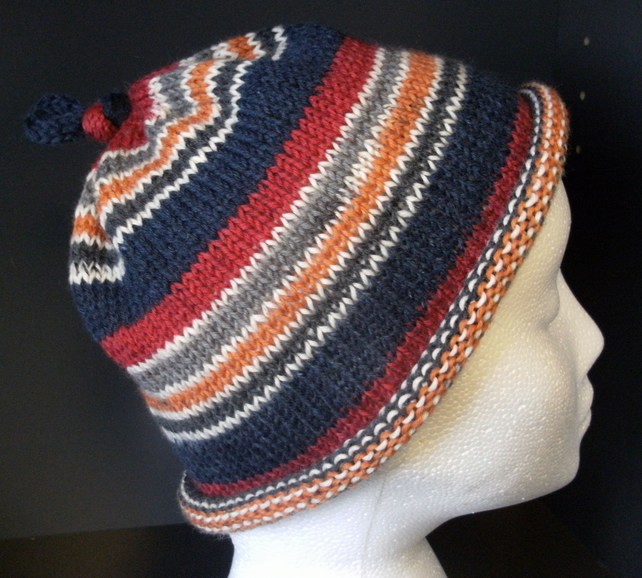 SALE! Handknit KNOTTY TOP BEANIE Stripey Red, Navy, Orange & Grey Medium