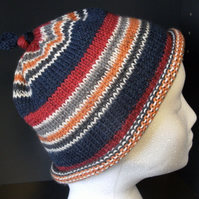 Handknit KNOTTY TOP BEANIE Stripey Red, Navy, Orange & Grey Medium