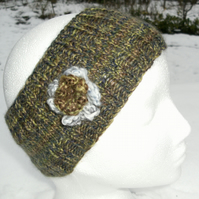 Hand knitted Flowered Headband in khaki tweed