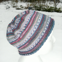 Handknit Beanie Hat 100% MERINO Stripey jacquard in purples, pastels & red