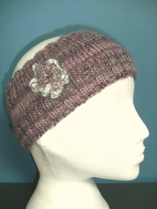 Flowered Headband in mauve lavenders