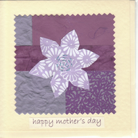 Mother's Day Card handmade papers-purple flower