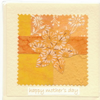 Mother's Day Card handmade papers-yellow flower