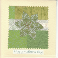 Mother's Day Card handmade papers-green flower