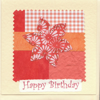 Floral Birthday Card handmade papers-orange flower
