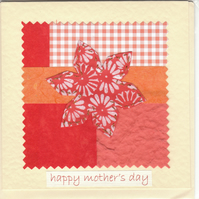Mother's Day Card handmade papers-orange flower