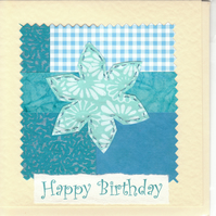 Female Birthday Card handmade papers-turquoise flower