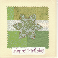Female Birthday Card handmade papers- green flower