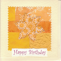 Female Birthday Card handmade papers-yellow flower