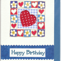 GIRLS TEEN BIRTHDAY CARD  Floral & Hearts