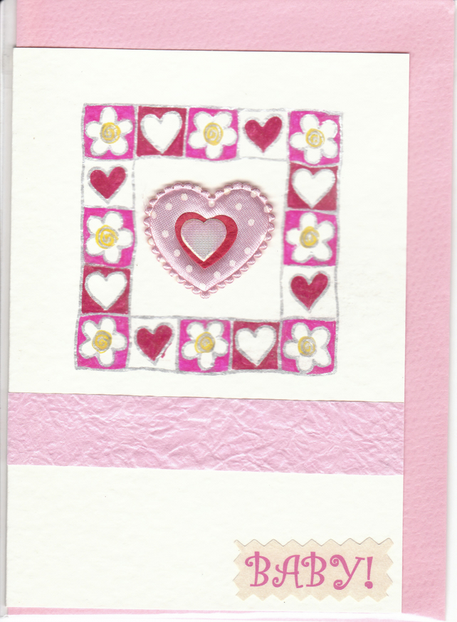 BABY GIRL CARD  Floral & Hearts