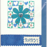 BABY BOY CARD  Floral & Hearts