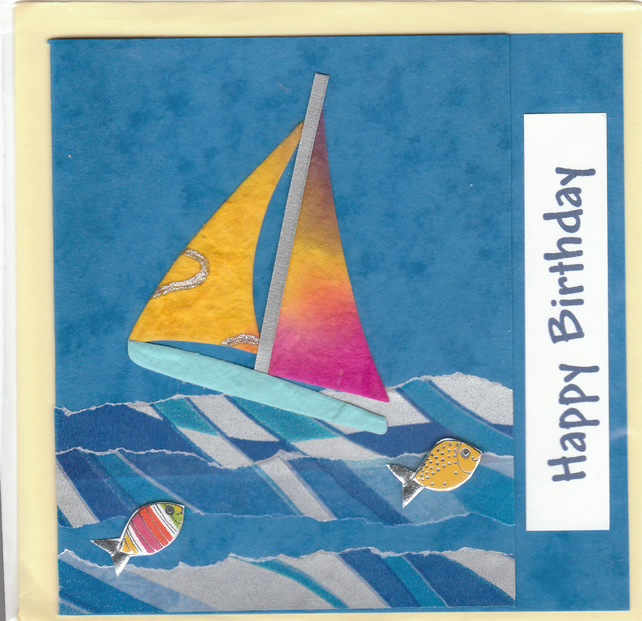 BIRTHDAY CARD - Yacht and Fish