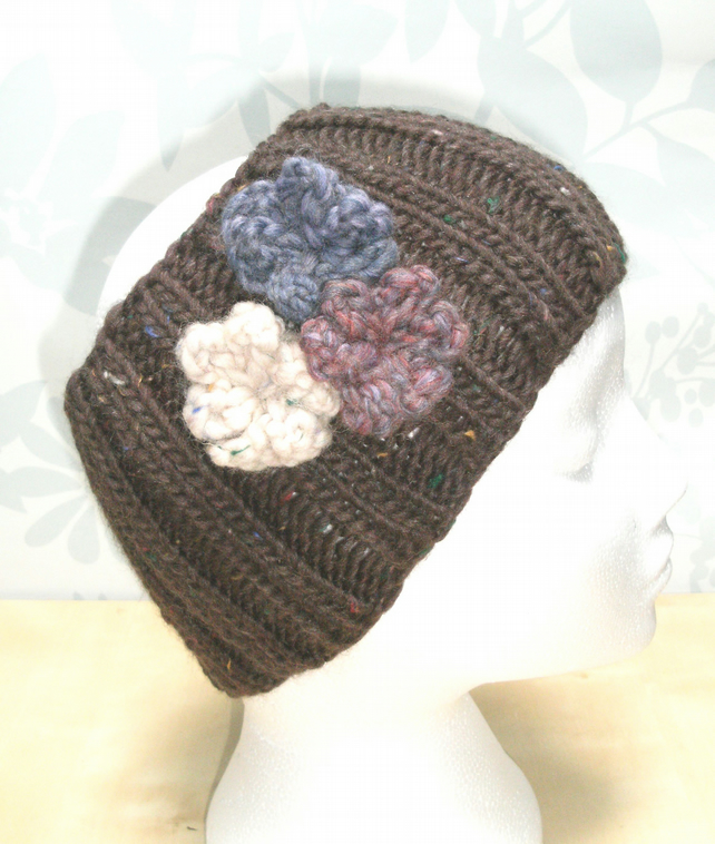 Knitting Pattern Ribbed Headband : Hand knitted Double Ribbed Headband- Brown flec... - Folksy