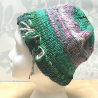 Handknit Noro cotton silk & wool hat SM pink & green multi