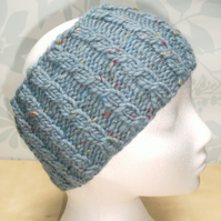 Hand Knitted Cable Merino Headband in Powder Blue M