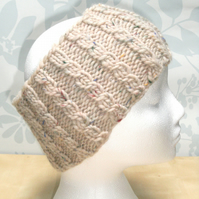 Hand Knitted Cable Merino Headband in Cream M