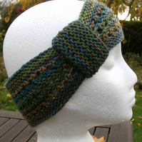 Hand-dyed & Knit Cotton Lacy Headband with looped band