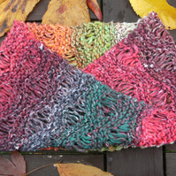 Noro MOBIUS NECK WARMER cotton, wool & silk in red, green, orange, burgundy