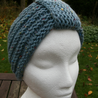 SPECIAL! Hand knitted Turban Style Headband- Powder Blue-Medium