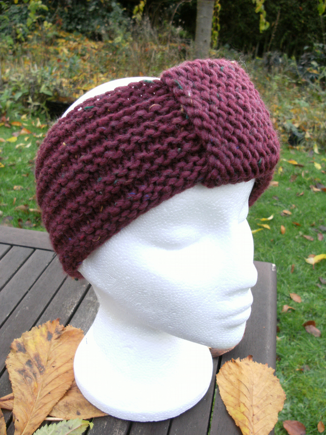 Hand-knitted Turban Style Headband- Burgundy Red - Medium