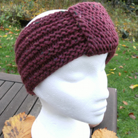 MARCH SALE! Hand-knitted Turban Style Headband- Burgundy Red - Medium
