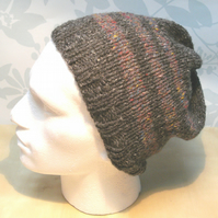 Handknit 100% Wool MENS SLOUCH HAT GREY with Stipes MEDIUM