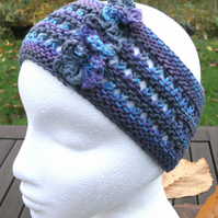Hand-dyed & Knit Cotton Lacy Headband with flowers-Blues