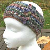 Hand-dyed & Knit Cotton Lacy Headband with flowers-Multi