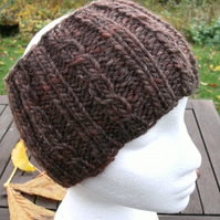 Hand Knitted Chunky Cable Headband in Browns M